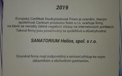 Evropský Certifikát Důvěryhodnosti Firem 2019