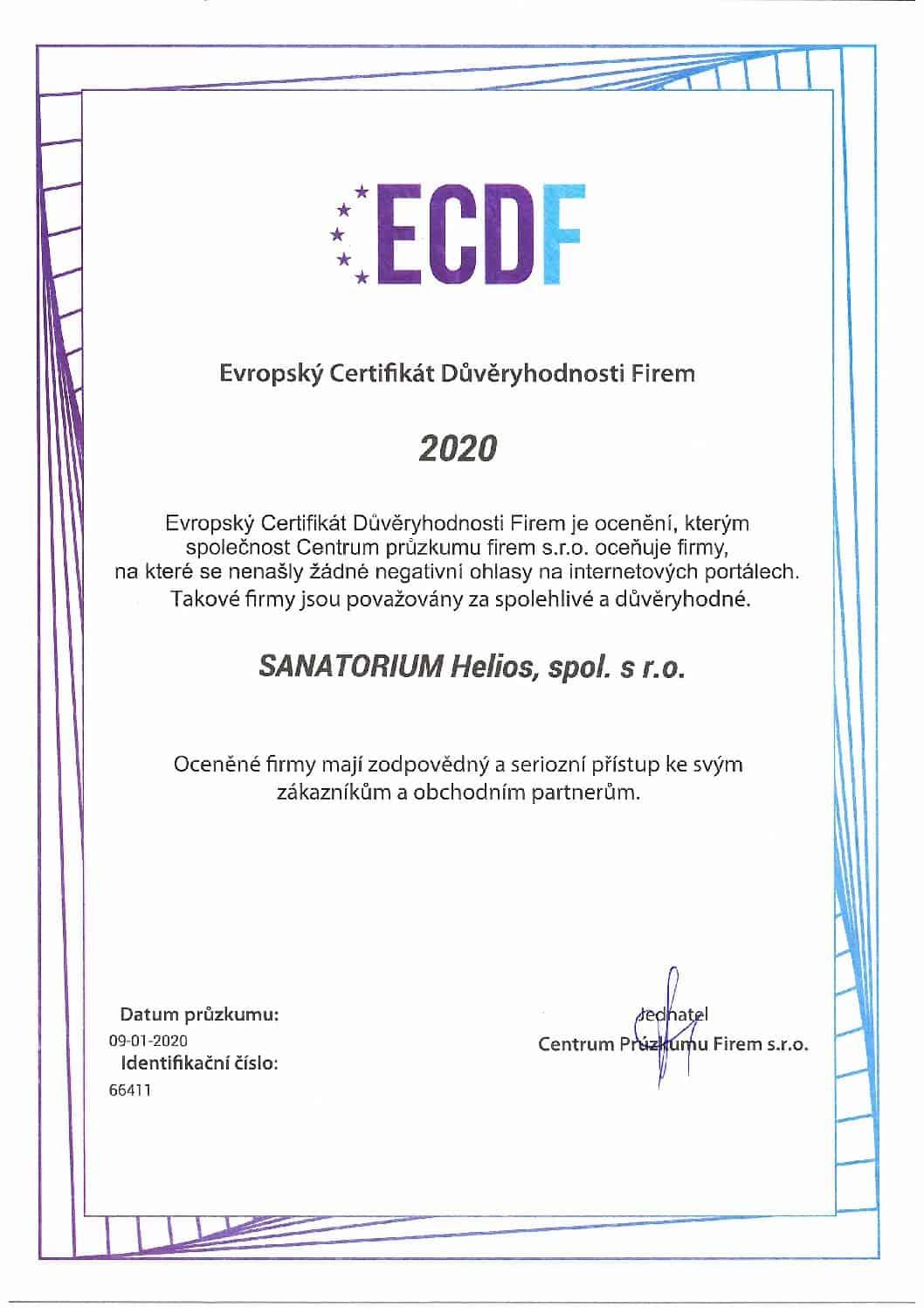 Evropský Certifikát Důvěryhodnosti Firem 2020